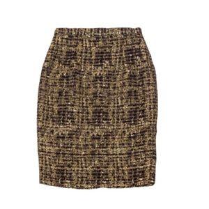 Alice & Olivia Gold Tweed Pencil Skirt